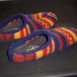 Slippers made from felted knitting