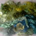 Green-blue-yellow rainbow dyed  Leicester fleece locks