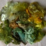 Green-gold-brown rainbow dyed Leicester fleece locks